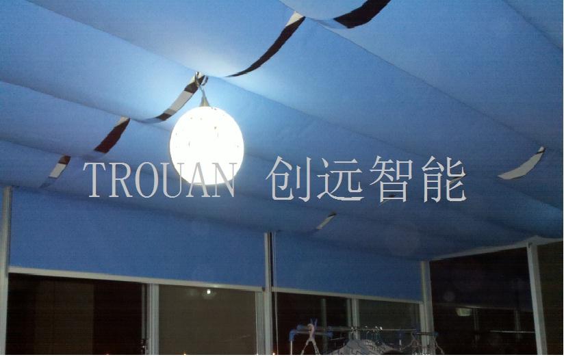 湘潭富瑶天下PTS双轨折叠式电动天棚帘工程